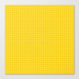 Yellow Grid White Line Canvas Print