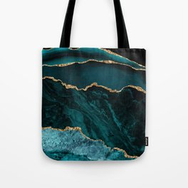 Teal Blue Emerald Marble Landscapes Tote Bag