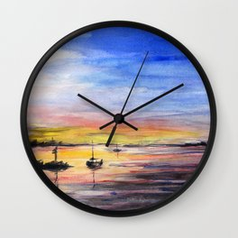 Sunset Watercolor Painting Landscape Art Wall Clock