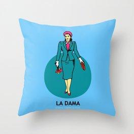 La Dama Mexican Loteria Throw Pillow