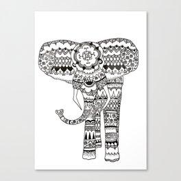 Mandala Pattern Walking Elephant Canvas Print
