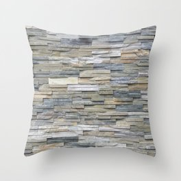 Gray Slate Stone Brick Texture Faux Wall Throw Pillow
