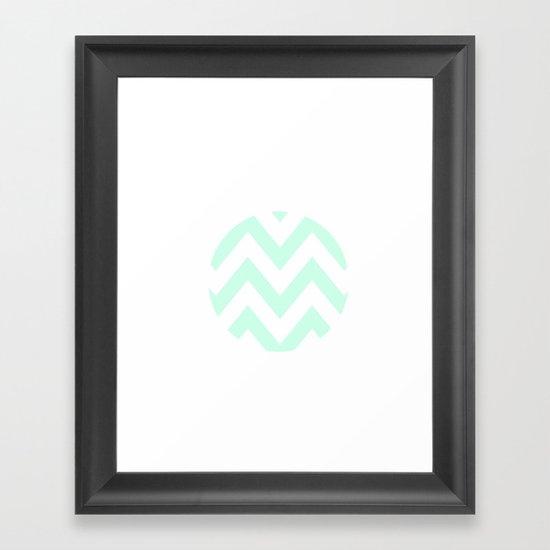 WHITE CIRCLE CHEVRON Framed Art Print