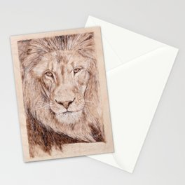 Lion Portrait - Drawing by Burning on Wood - Pyrography Art Stationery Cards