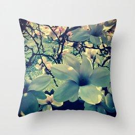 Magnolias flowering Throw Pillow
