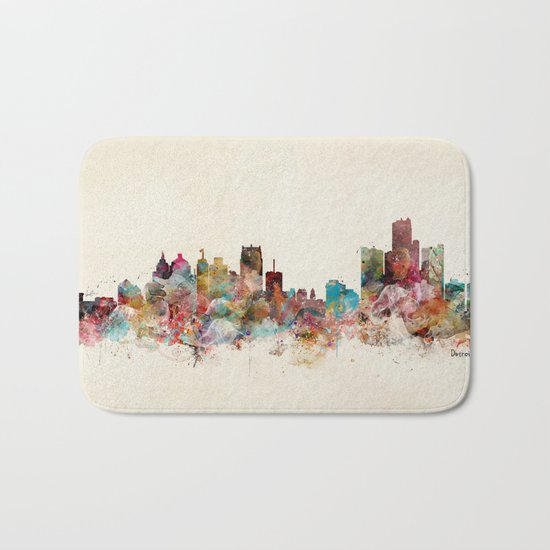 detroit michigan skyline Bath Mat