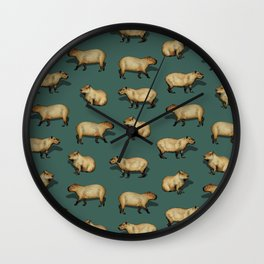 Cute Capybara Pattern - Giant Rodents on Dark Teal Wall Clock
