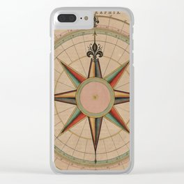 Vintage Compass Rose Diagram (1664) Clear iPhone Case