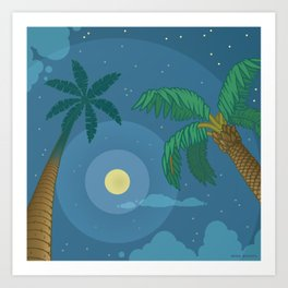 Supermoon Over Aruba Art Print