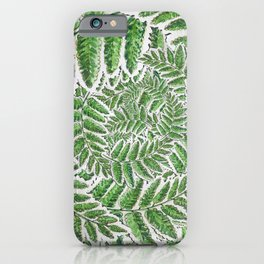 Green Fern leaves circular shape_Hand Painted watercolour & ink iPhone Case