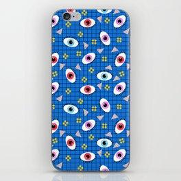 Hungry - eyes retro grid throwback 1980s minimal modern pattern print wacko designs neon iPhone Skin