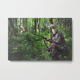 Hunting Deer Role Reversal Metal Print