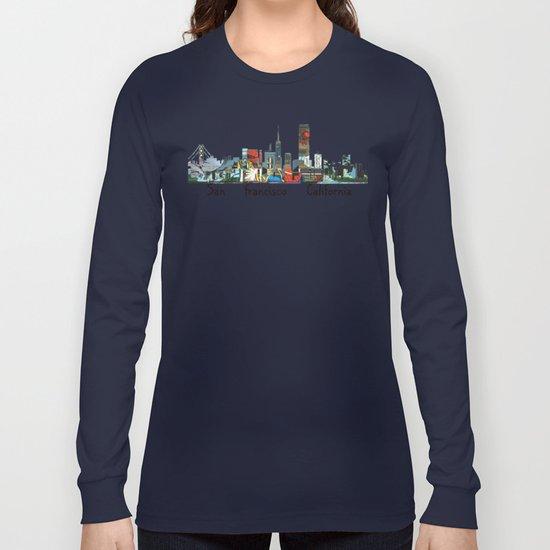 san francisco skyline comic Long Sleeve T-shirt