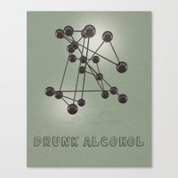 alcohol Canvas Prints featuring Drunk Alcohol by FalexanderArt