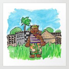 African Cat Art Print