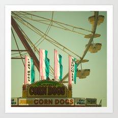 Lemonade & Corn Dogs Carnival Fair Foodie Pastels Art Print