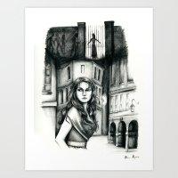 les miserables Art Prints featuring Les Miserables Portrait Series - Eponine by Flávia Marques
