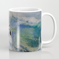 surfer Mugs featuring Panda Surfer by Michael Creese