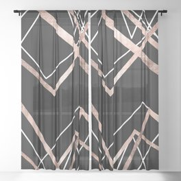 Rose Gold Black Linear Triangle Abstract Pattern Sheer Curtain