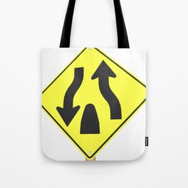 """Divided highway"" - 3d illustration of yellow roadsign isolated on white background Tote Bag"