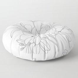 Minimal Line Art Magnolia Flowers Floor Pillow