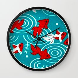 Japanese Circle 6 Koi fishes in pond Wall Clock