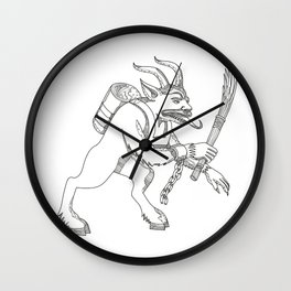 Krampus With Stick Doodle Art Wall Clock