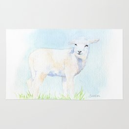 Lamb in the Pasture Watercolor Rug