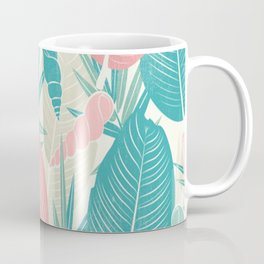 Tropical Palm Leaves, PinkTurquoise,Seashells Coffee Mug