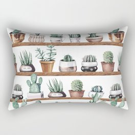 Cactus Shelf Rose Gold Green Rectangular Pillow
