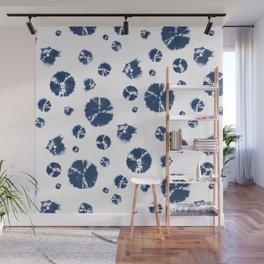 Shibori Polka Splotch Indigo Blue Wall Mural
