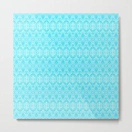 Turquoise Damask Pattern Metal Print