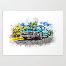 Watercolor car Art Print
