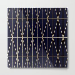 Modern gold geometric triangles pattern navy blue watercolor Metal Print