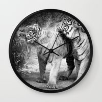 tigers Wall Clocks featuring little tigers by Bunny Noir