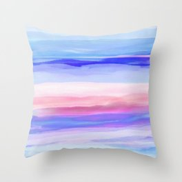 New World Horizon in Shades of Blue, Lilac and Pink Throw Pillow