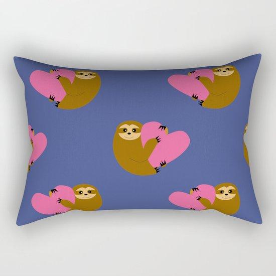 Sloth in love blue Rectangular Pillow