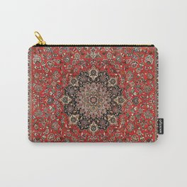 Persia Tabriz Old Century Authentic Colorful Black Burnt Red Vintage Rug Pattern Carry-All Pouch