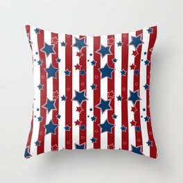 Blue stars, red striped Throw Pillow