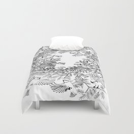 Birds tree botanical pattern Duvet Cover