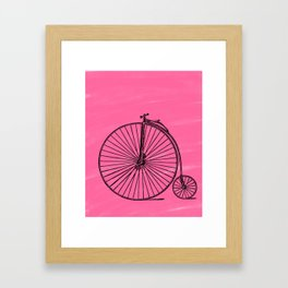 Penny Farthing and Pink Watercolors Framed Art Print