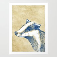 badger Art Prints featuring Badger by Emily Stalley