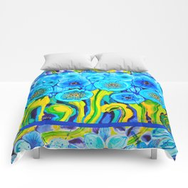 Field of Blue Poppies with Top and Bottom Border Belize Comforters