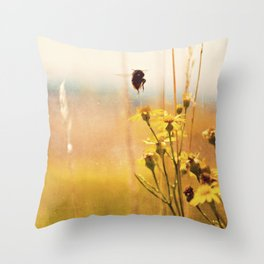 The heat on her back ... bumble bee photograph Throw Pillow