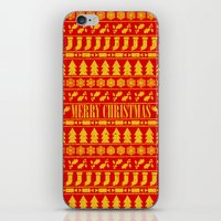 merry christmas iPhone & iPod Skins featuring Merry Christmas by Fimbis
