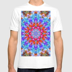 kaleidoscope Diamond Flower G408 White Mens Fitted Tee MEDIUM