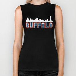 Red White Blue Buffalo New York Skyline Biker Tank
