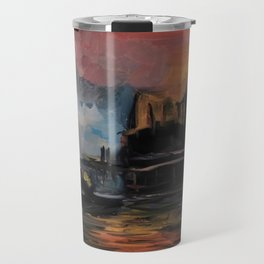 Misty Dock at Sunset Travel Mug