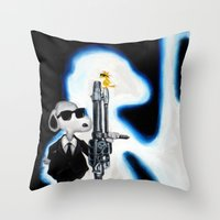snoopy Throw Pillows featuring MIB Snoopy by Karmaela.com