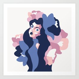 Lily with her flowers - vector shapes portrait illustration Art Print Art Print
